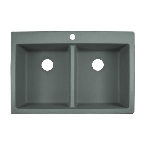 Franke Primo 33-in x 22-in Shadow Grey Double Equal Bowl Drop-In or  Undermount 1-Hole Commercial/Residential Kitchen Sink at Lowes.com
