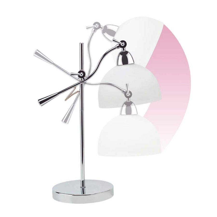 OttLite 13-in Adjustable Chrome Contemporary/Modern Standard Desk Lamp with Glass Shade