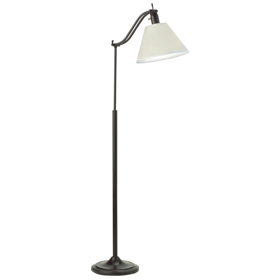 """OttLite 60-1/2"""" Antiqued Bronze Floor Lamp with Off White Shade"""