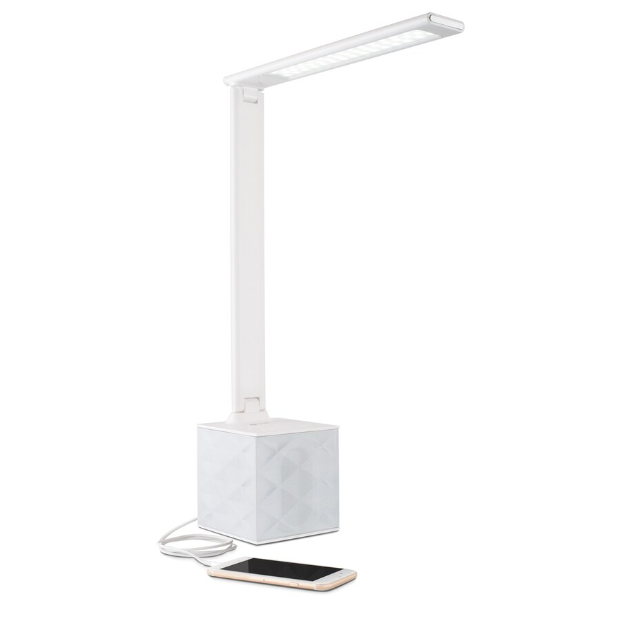 Ottlite 21 In Adjule White Led Touch Swing Arm Desk Lamp With Plastic Shade