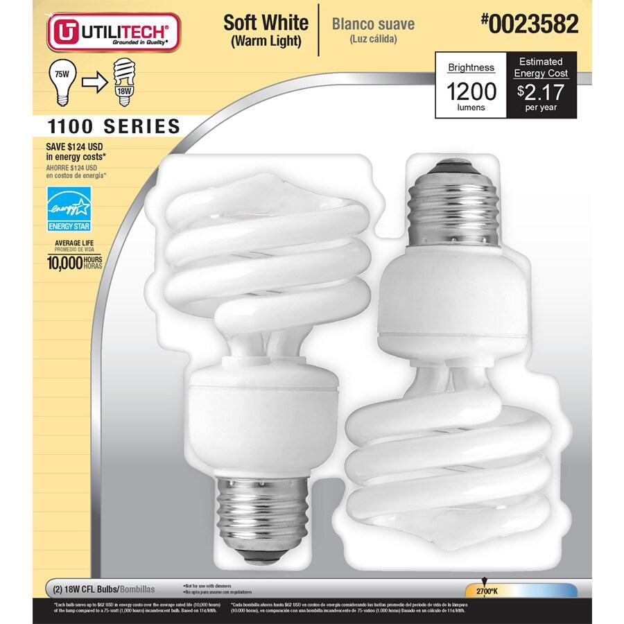 Utilitech 2-Pack 75W Equivalent Soft White Spiral CFL Light Fixture Light Bulbs