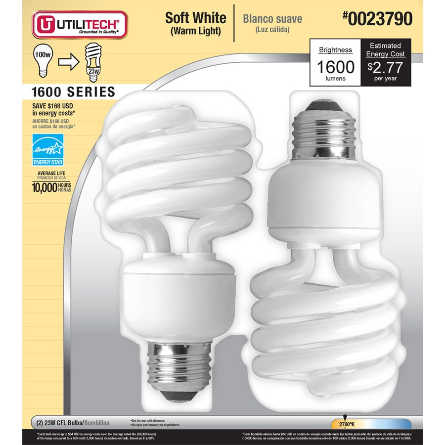 Utilitech 2-Pack 23-Watt (100W Equivalent) Spiral Soft White Outdoor CFL Bulb ENERGY STAR