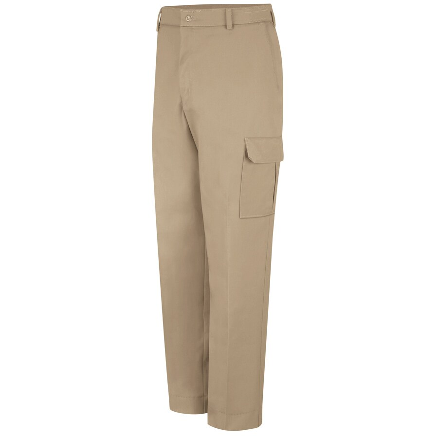 Red Kap Men's 46 x 30 Khaki Twill Cargo Work Pants
