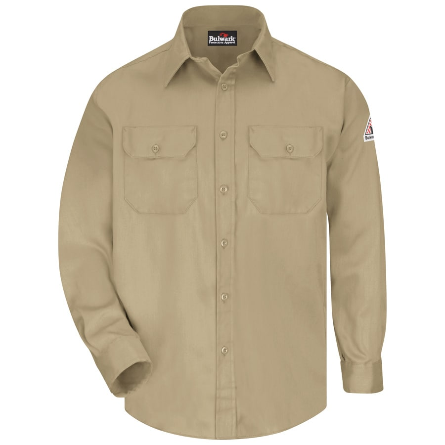 Bulwark Men's Large-Long Khaki Twill Cotton Blend Long Sleeve Uniform Work Shirt