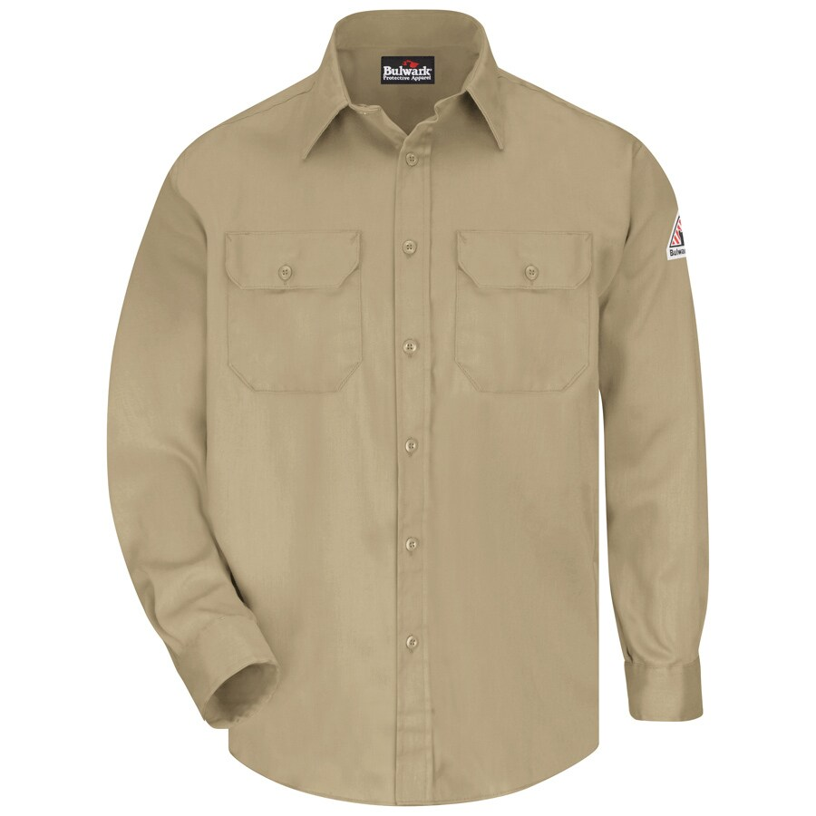Bulwark Men's Large Khaki Twill Cotton Blend Long Sleeve Uniform Work Shirt