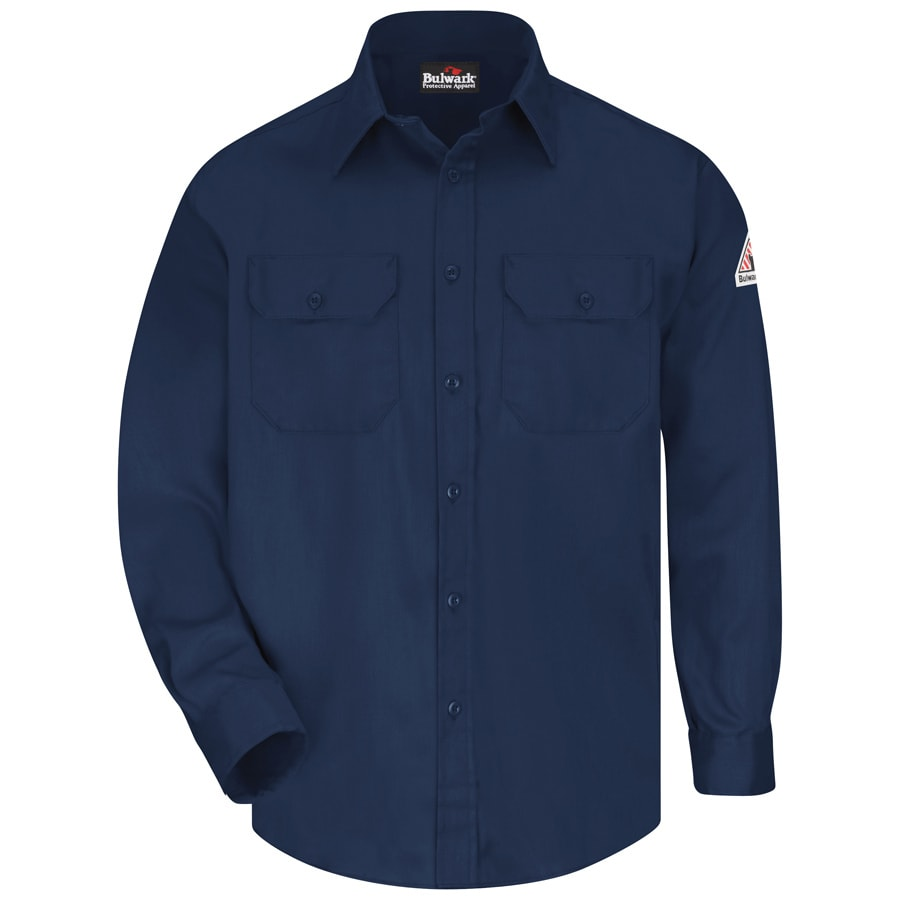 Bulwark Men's Large-Long Navy Twill Cotton Blend Long Sleeve Uniform Work Shirt