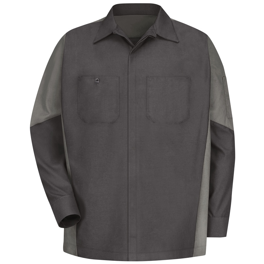 Red Kap Men's Large-Long Charcoal Poplin Polyester Blend Long Sleeve Uniform Work Shirt