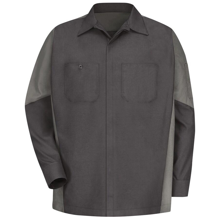 Red Kap Men's XXL-Long Charcoal Poplin Polyester Blend Long Sleeve Uniform Work Shirt