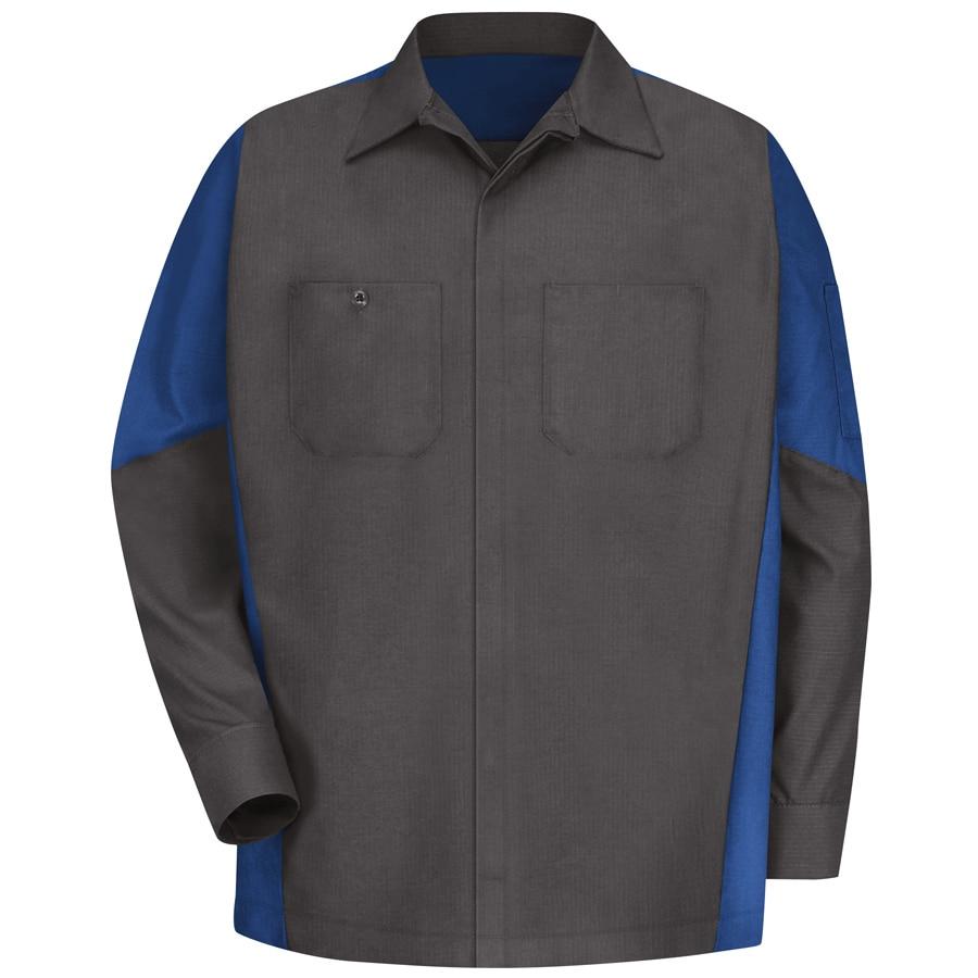 Red Kap Men's Large-Long Charcoal/Royal Blue Poplin Polyester Blend Long Sleeve Uniform Work Shirt