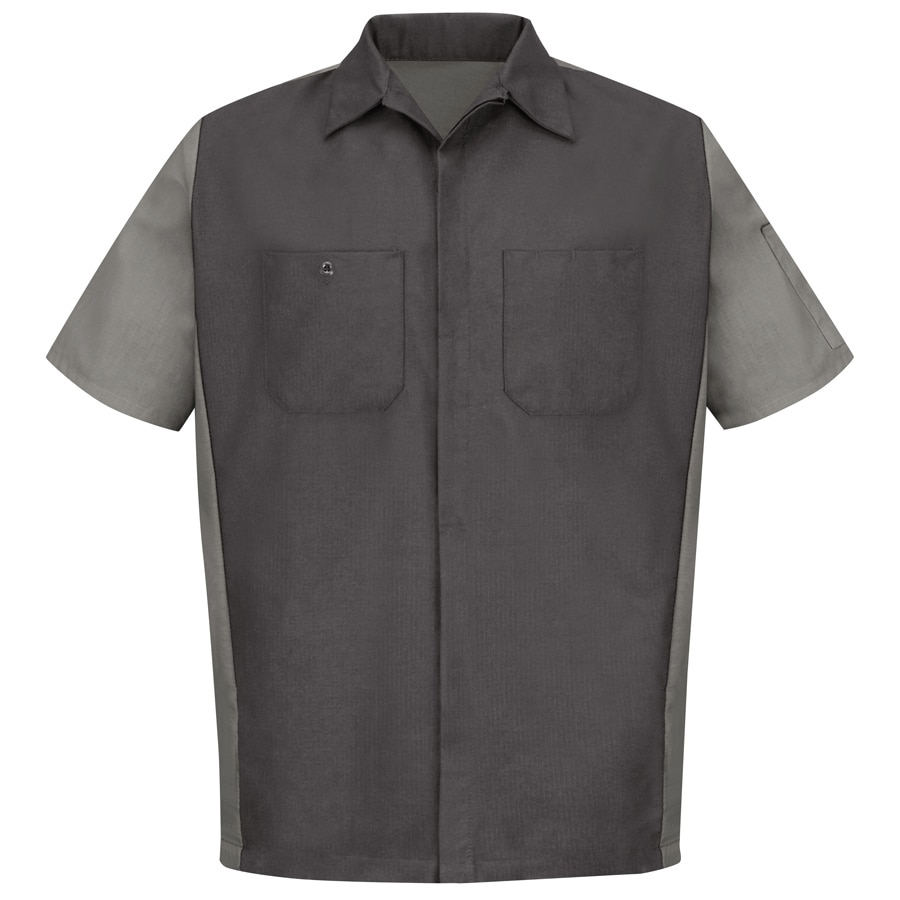 Red Kap Men's XL-Long Charcoal Poplin Polyester Blend Short Sleeve Uniform Work Shirt