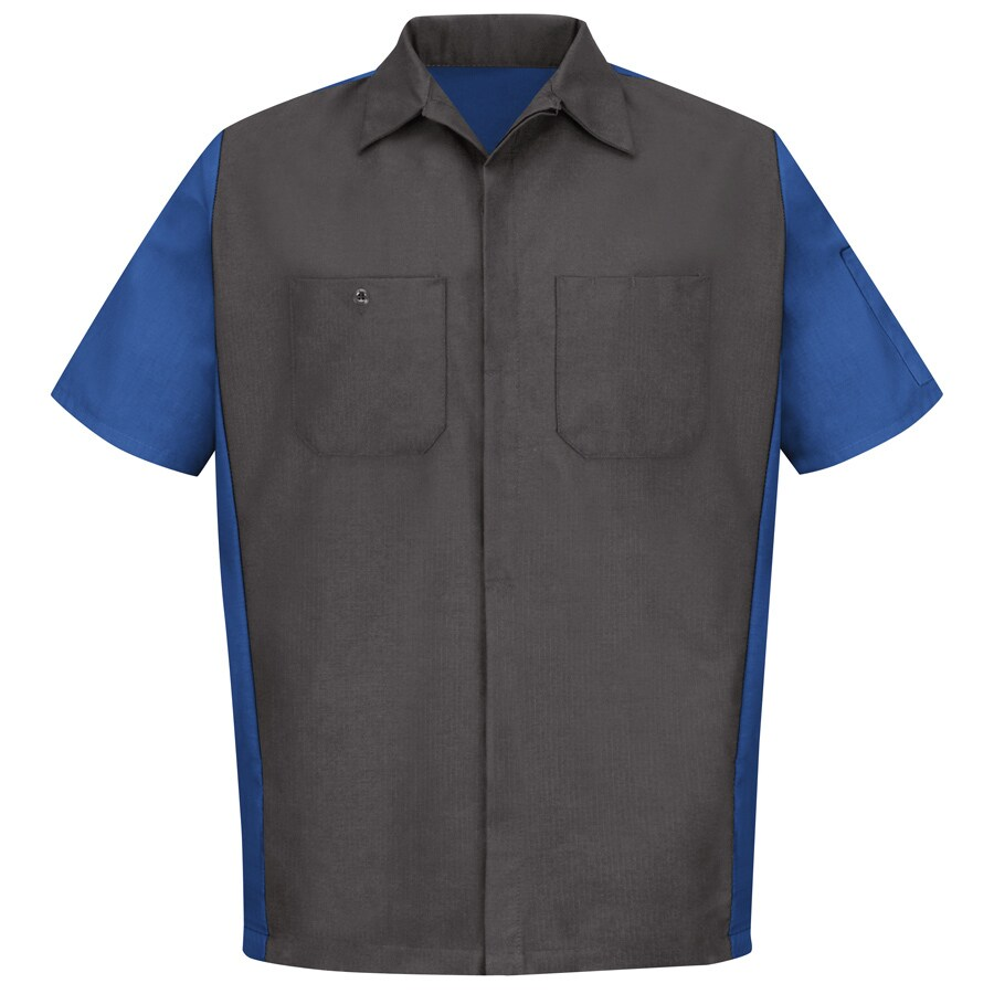 Red Kap Men's Large Charcoal/Royal Blue Poplin Polyester Blend Short Sleeve Uniform Work Shirt