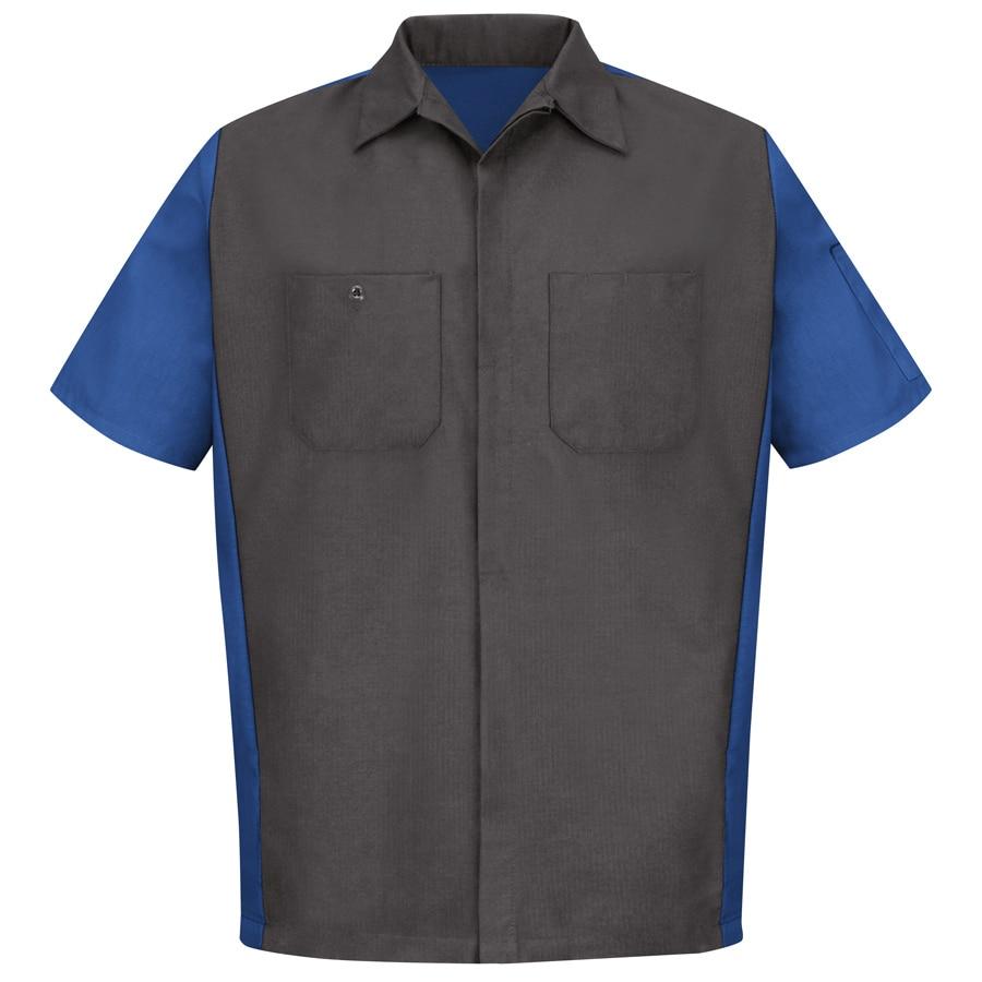 Red Kap Men's Large-Long Charcoal/Royal Blue Poplin Polyester Blend Short Sleeve Uniform Work Shirt