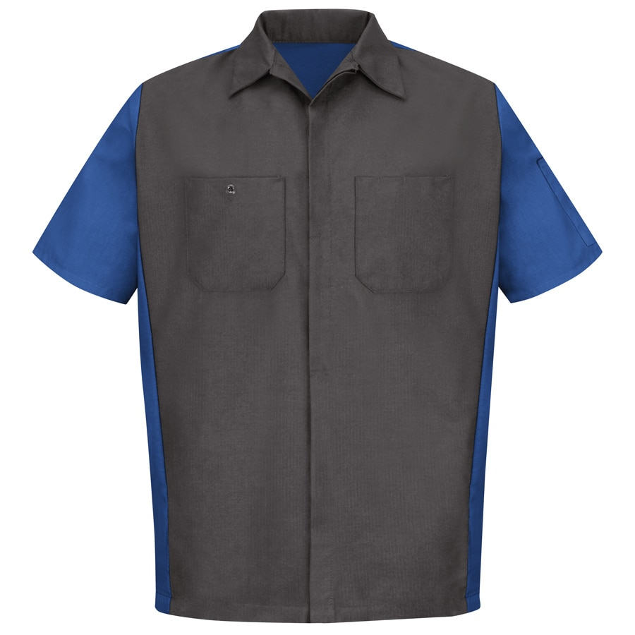 Red Kap Men's XXL-Long Charcoal/Royal Blue Poplin Polyester Blend Short Sleeve Uniform Work Shirt
