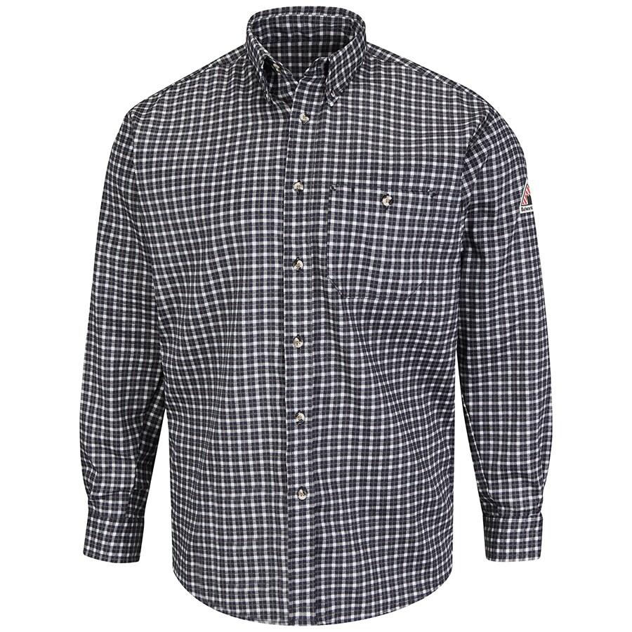 Bulwark Men's XX-Large Navy/Khaki Twill Cotton Blend Long Sleeve Dress Work Shirt