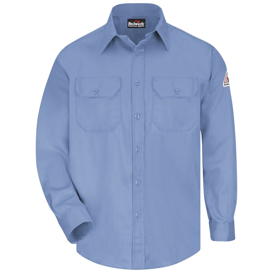 Bulwark Men's XXL-Long Light Blue Twill Cotton Blend Long Sleeve Uniform Work Shirt