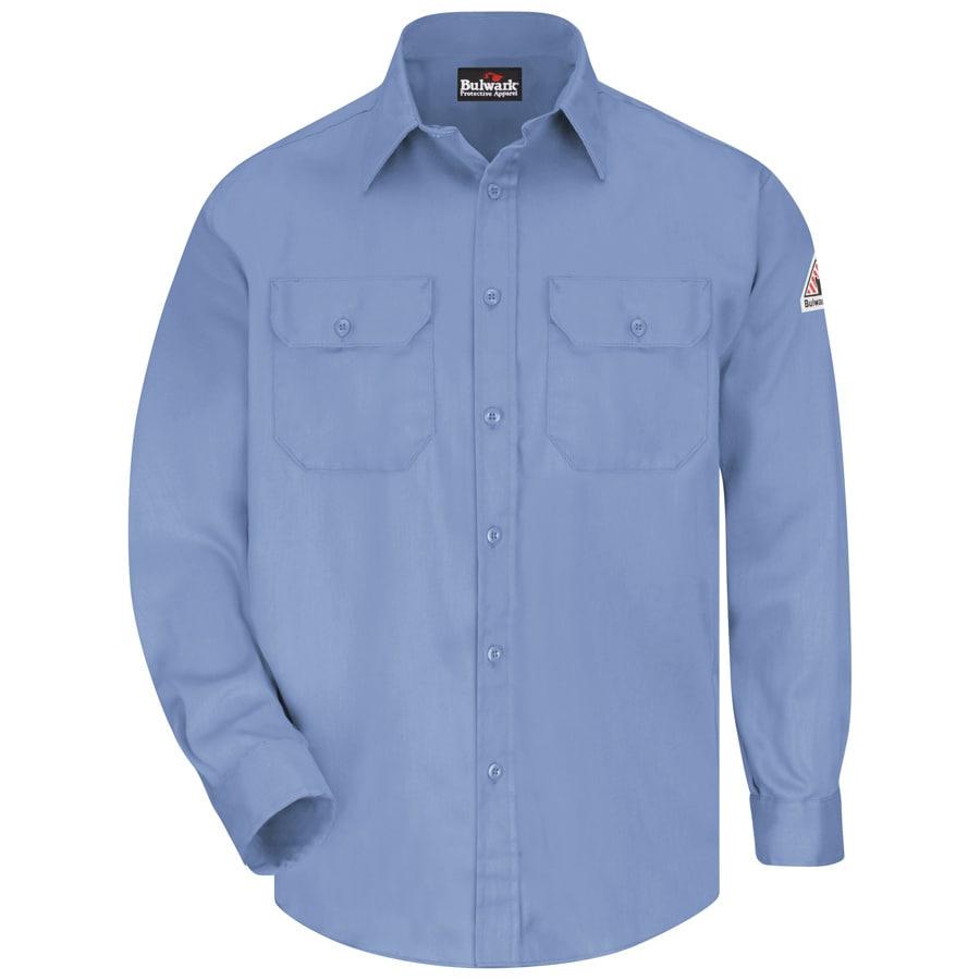 Bulwark Men's Large Light Blue Twill Cotton Blend Long Sleeve Uniform Work Shirt