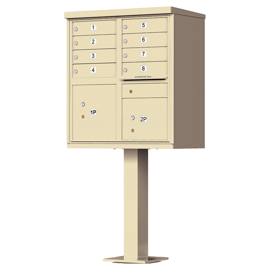 Florence 30.5-in x 62-in Metal Sandstone Powder-Coat Lockable Cluster Mount Cluster Mailbox