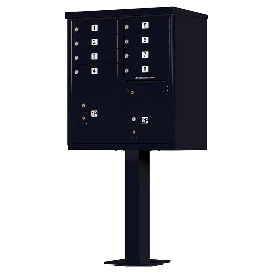Florence 30.5-in W x 62-in H Metal Black Powder-Coat Lockable Cluster Mount Cluster Mailbox