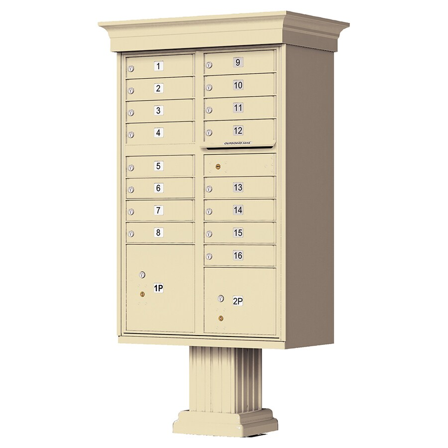 Florence 34-in x 65-in Metal Sandstone Powder-Coat Lockable Cluster Mount Cluster Mailbox