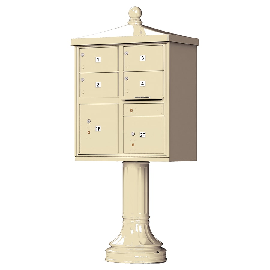 Florence Vital with Vogue Traditional Accessories 31.6-in x 71.4-in Metal Sandstone Lockable Cluster Mount Cluster Mailbox