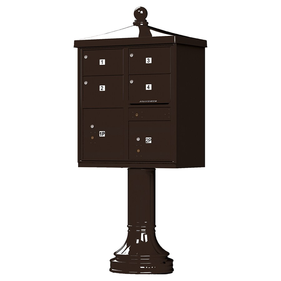 Florence Vital with Vogue Traditional Accessories 31.6-in x 71.4-in Metal Dark Bronze Lockable Cluster Mount Cluster Mailbox