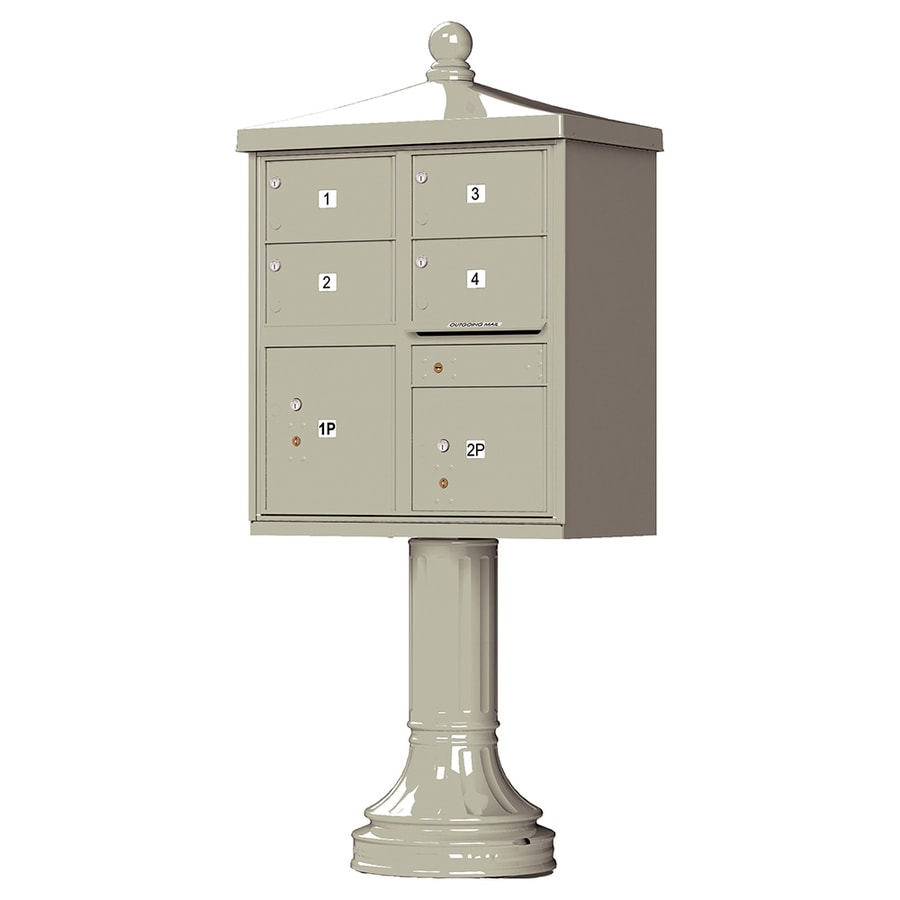 Florence Vital with Vogue Traditional Accessories 31.6-in x 71.4-in Metal Postal Grey Lockable Cluster Mount Cluster Mailbox