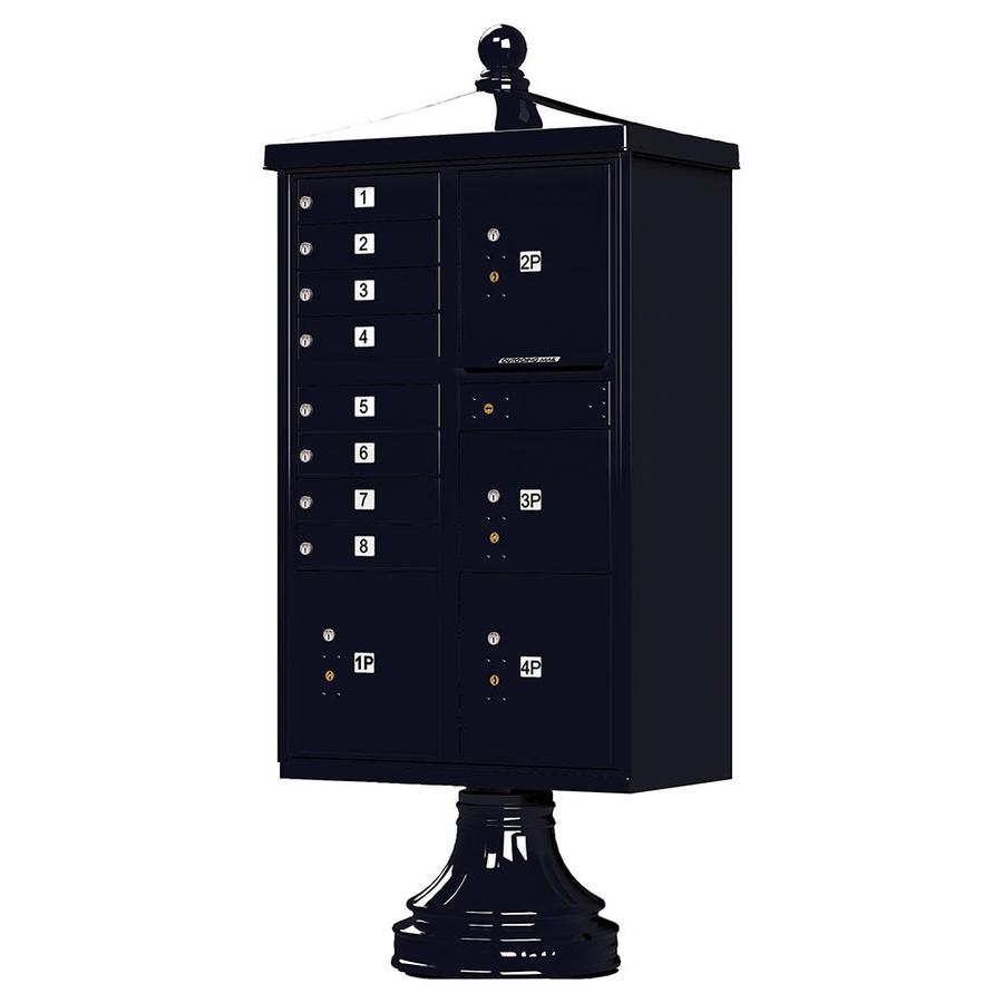 Florence Vital with Vogue Traditional Accessories 31.6-in x 71.4-in Metal Black Pebble Lockable Cluster Mount Cluster Mailbox