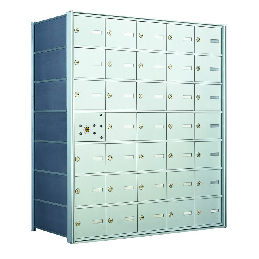 Florence 1400 33.6-in W x 38.8-in H Metal Anodized Aluminum Lockable Recessed Mount Cluster Mailbox