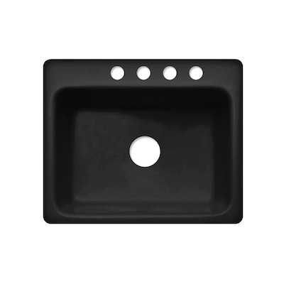 Corstone Foster Gloss Black Microban Single Basin Acrylic