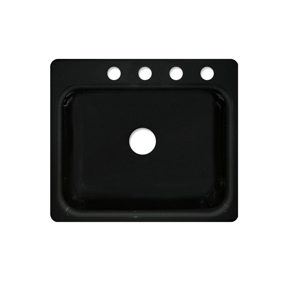 CorStone Phenix Gloss Black Single-Basin Acrylic Drop-In Kitchen Sink