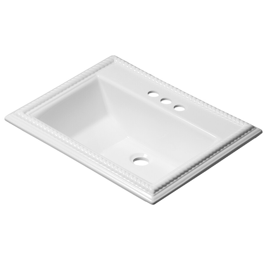 Corstone chesnee gloss white acrylic drop in rectangular - Rectangular drop in bathroom sink ...