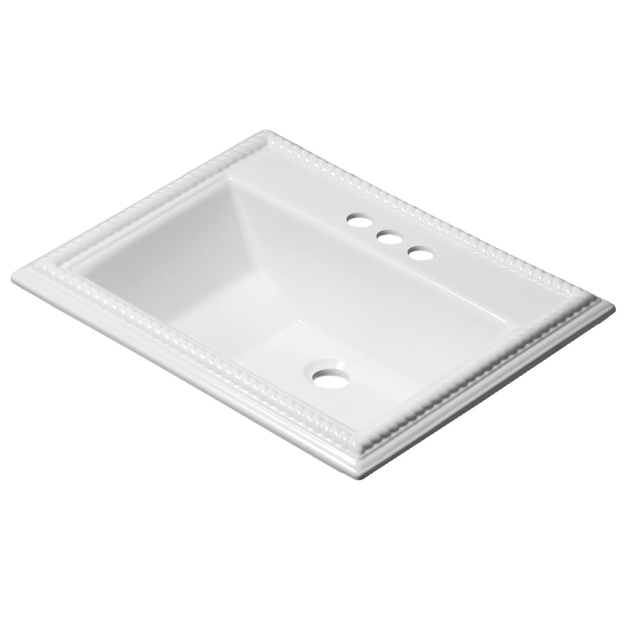 Shop Corstone Chesnee Gloss White Acrylic Drop In Rectangular Bathroom Sink With Overflow At
