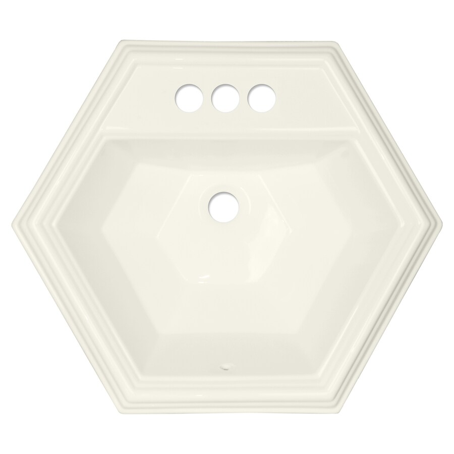 corstone edgefield gloss biscuit acrylic dropin hexagonal bathroom sink with overflow