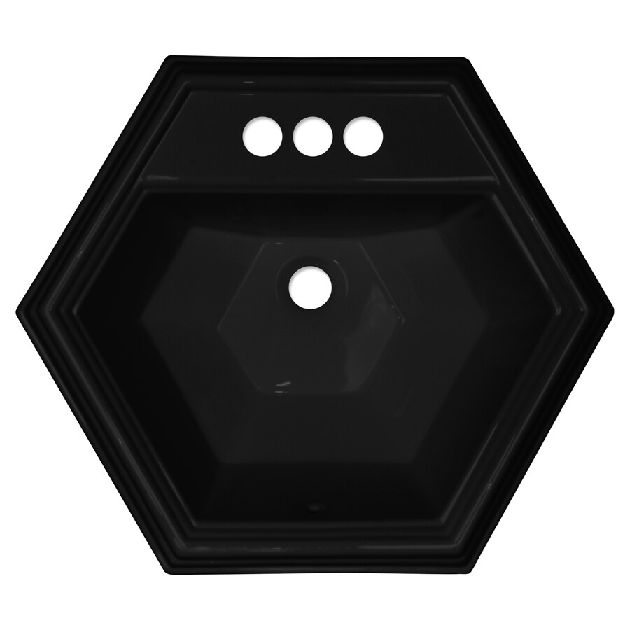 hexagon bathroom sink shop corstone edgefield gloss black acrylic drop in 13110