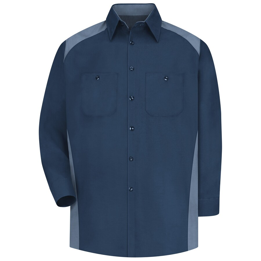 Red Kap Men's Large-Long Navy Poplin Polyester Blend Long Sleeve Uniform Work Shirt