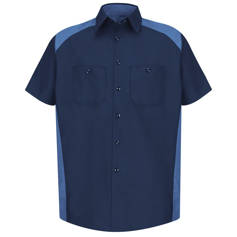 Red Kap Men's XL-Long Navy Poplin Polyester Blend Short Sleeve Uniform Work Shirt