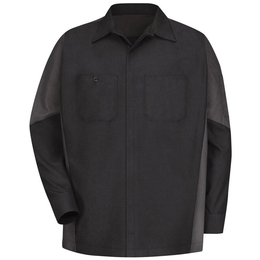 Red Kap Men's Large-Long Black/Charcoal Poplin Polyester Blend Long Sleeve Uniform Work Shirt