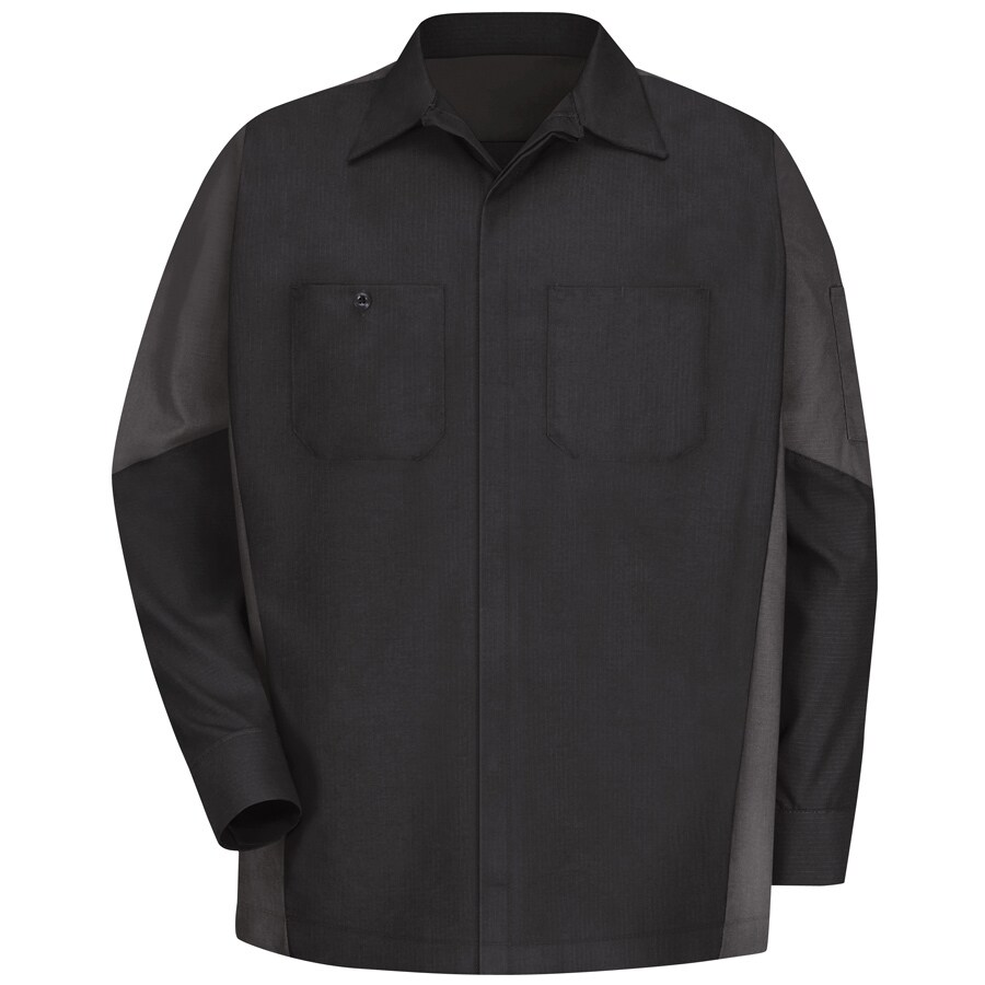 Red Kap Men's XL-Long Black/Charcoal Poplin Polyester Blend Long Sleeve Uniform Work Shirt