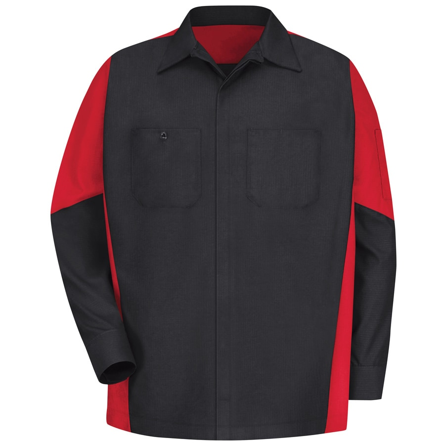 Red Kap Men's Large-Long Black/Red Poplin Polyester Blend Long Sleeve Uniform Work Shirt