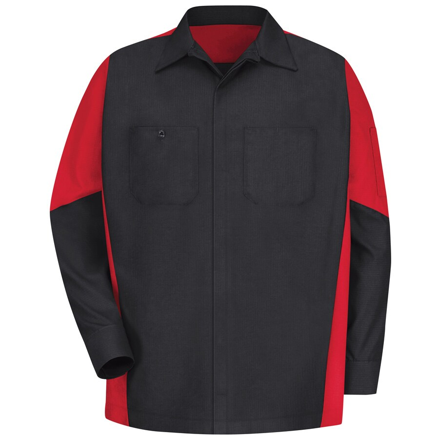 Red Kap Men's XL-Long Black/Red Poplin Polyester Blend Long Sleeve Uniform Work Shirt