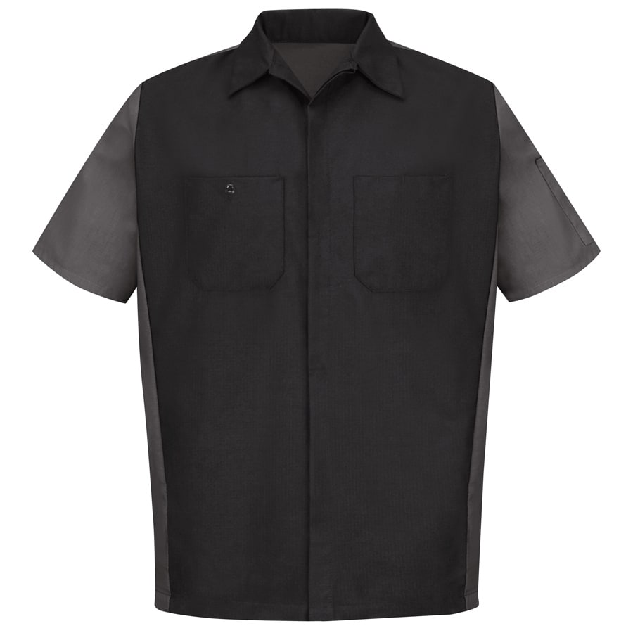 Red Kap Men's Large Black/Charcoal Poplin Polyester Blend Short Sleeve Uniform Work Shirt