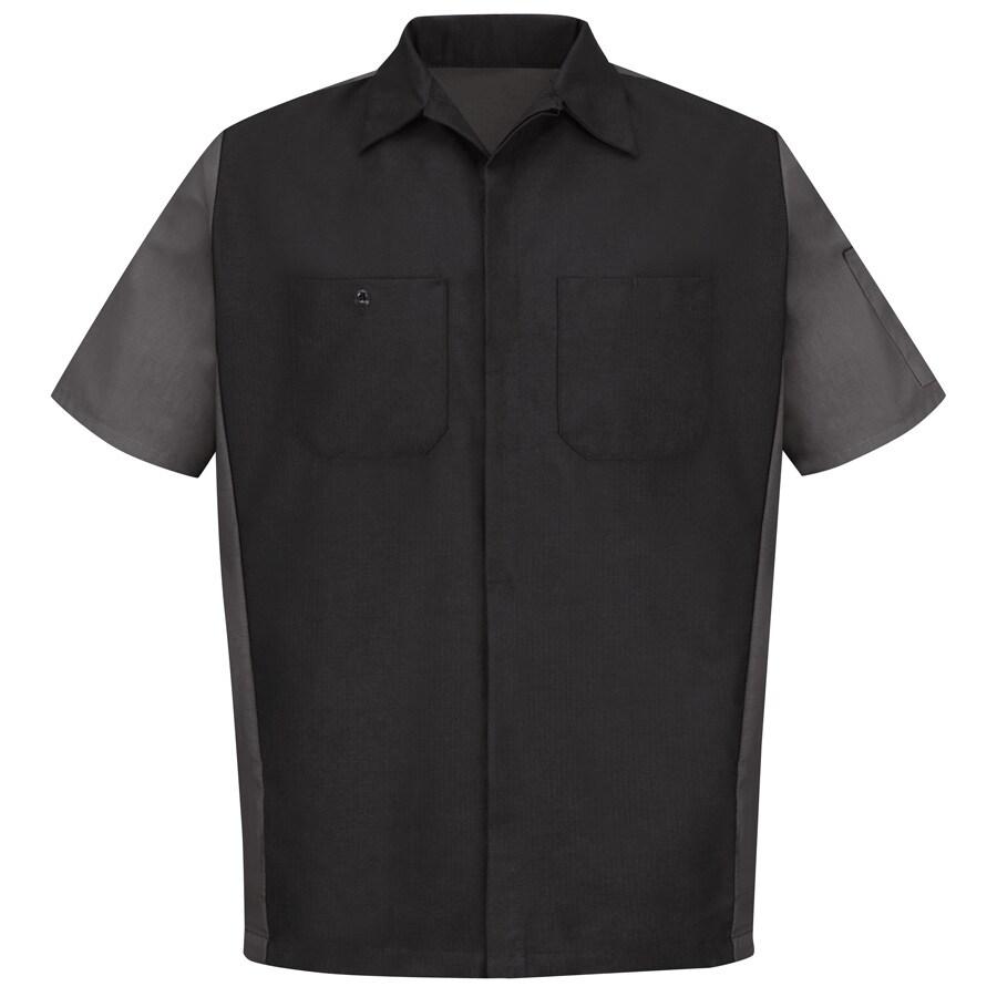 Red Kap Men's Small Black/Charcoal Poplin Polyester Blend Short Sleeve Uniform Work Shirt