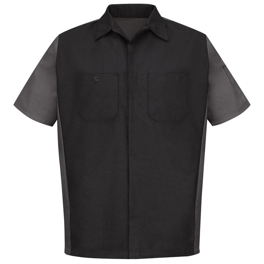 Red Kap Men's XL-Long Black/Charcoal Poplin Polyester Blend Short Sleeve Uniform Work Shirt