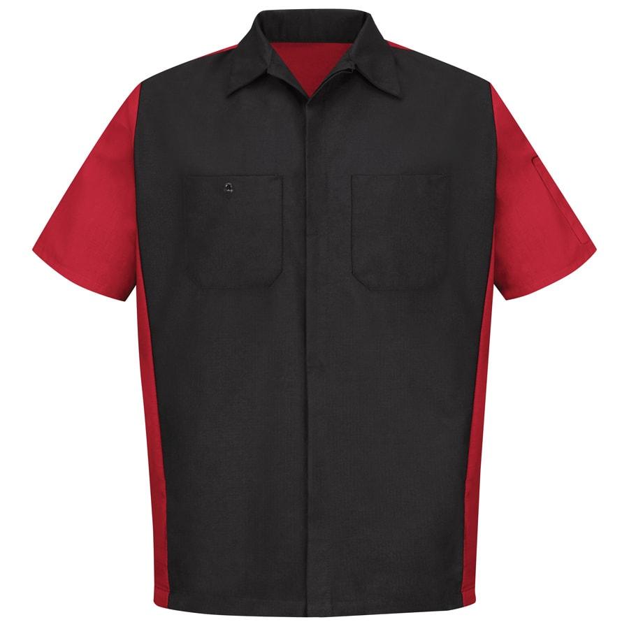 Red Kap Men's 3XL Black/Red Poplin Polyester Blend Short Sleeve Uniform Work Shirt