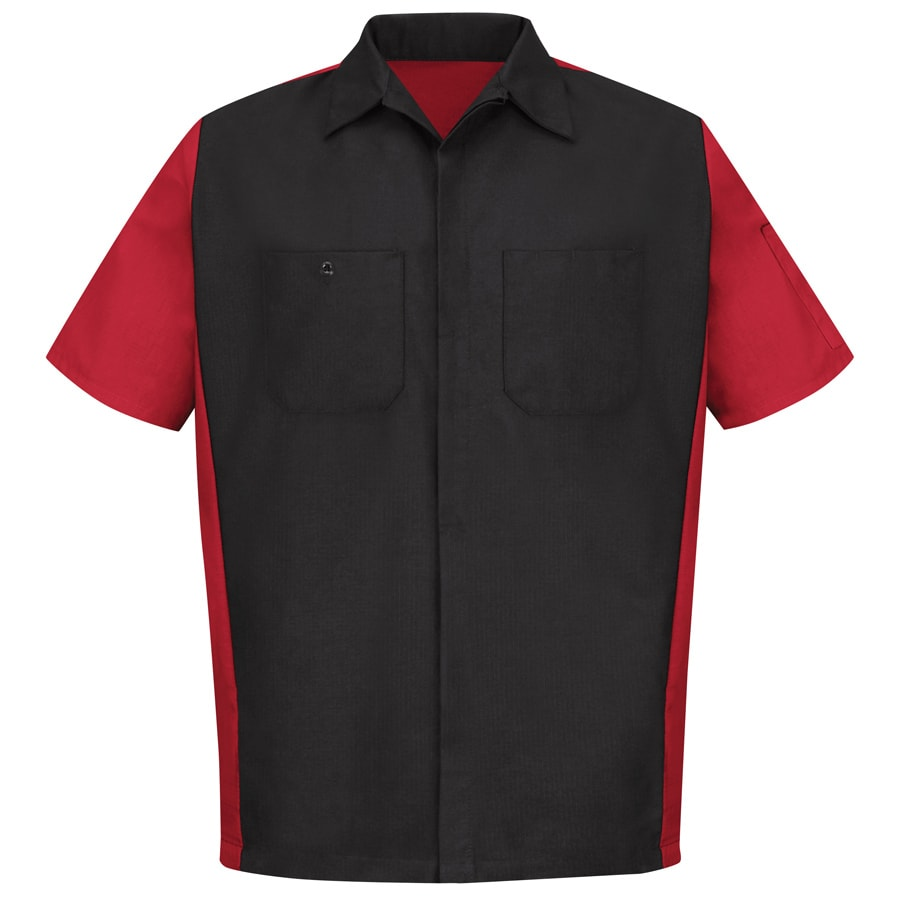Red Kap Men's Large Black/Red Poplin Polyester Blend Short Sleeve Uniform Work Shirt