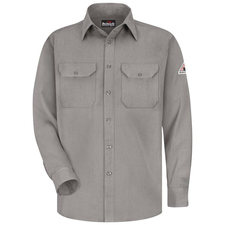 Bulwark Men's Large-Long Grey Twill Modoacrylic Long Sleeve Dress Work Shirt