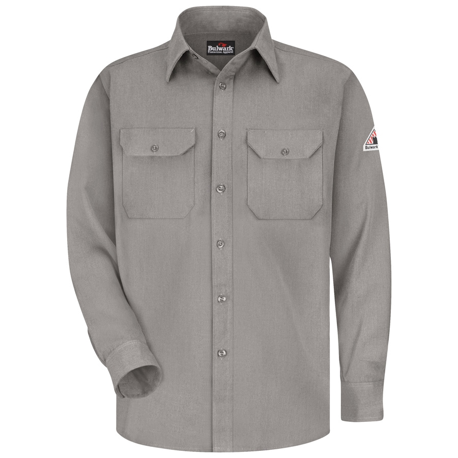 Bulwark Men's XXL-Long Grey Twill Modoacrylic Long Sleeve Dress Work Shirt