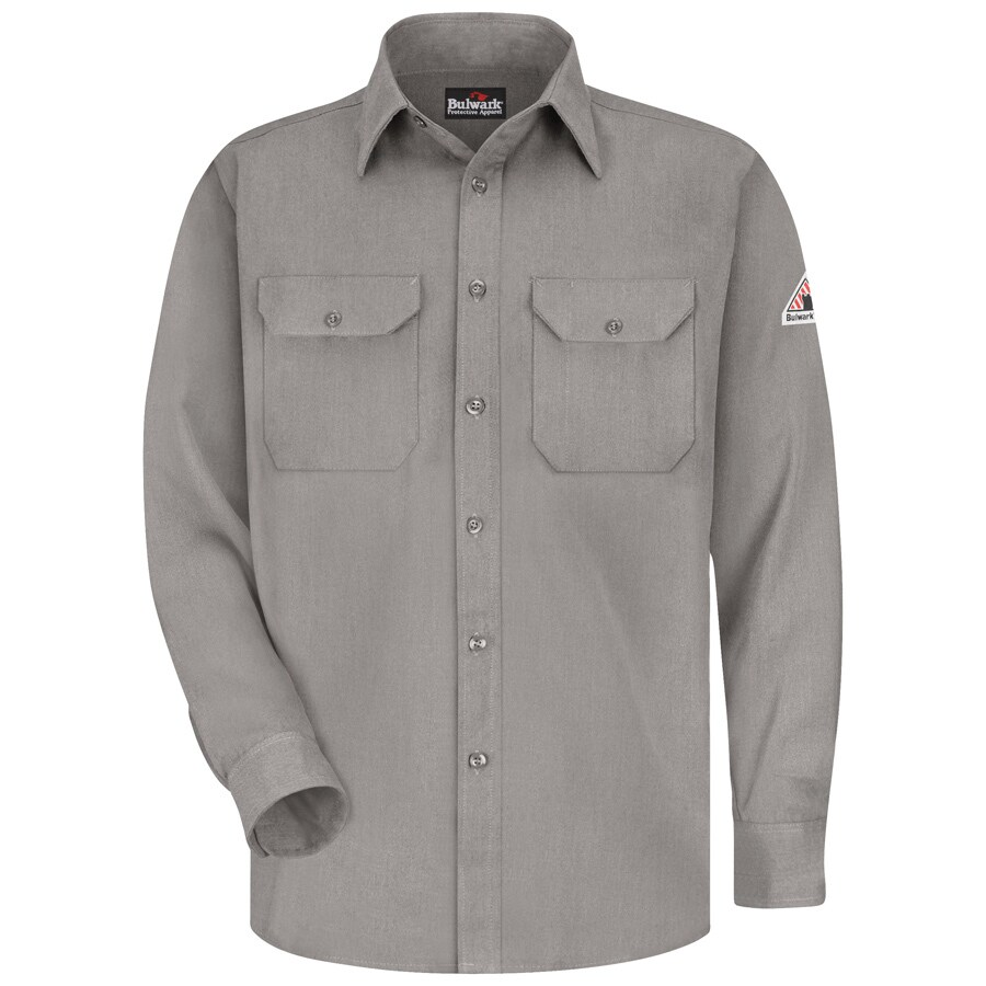 Bulwark Men's Large Grey Twill Modoacrylic Long Sleeve Dress Work Shirt