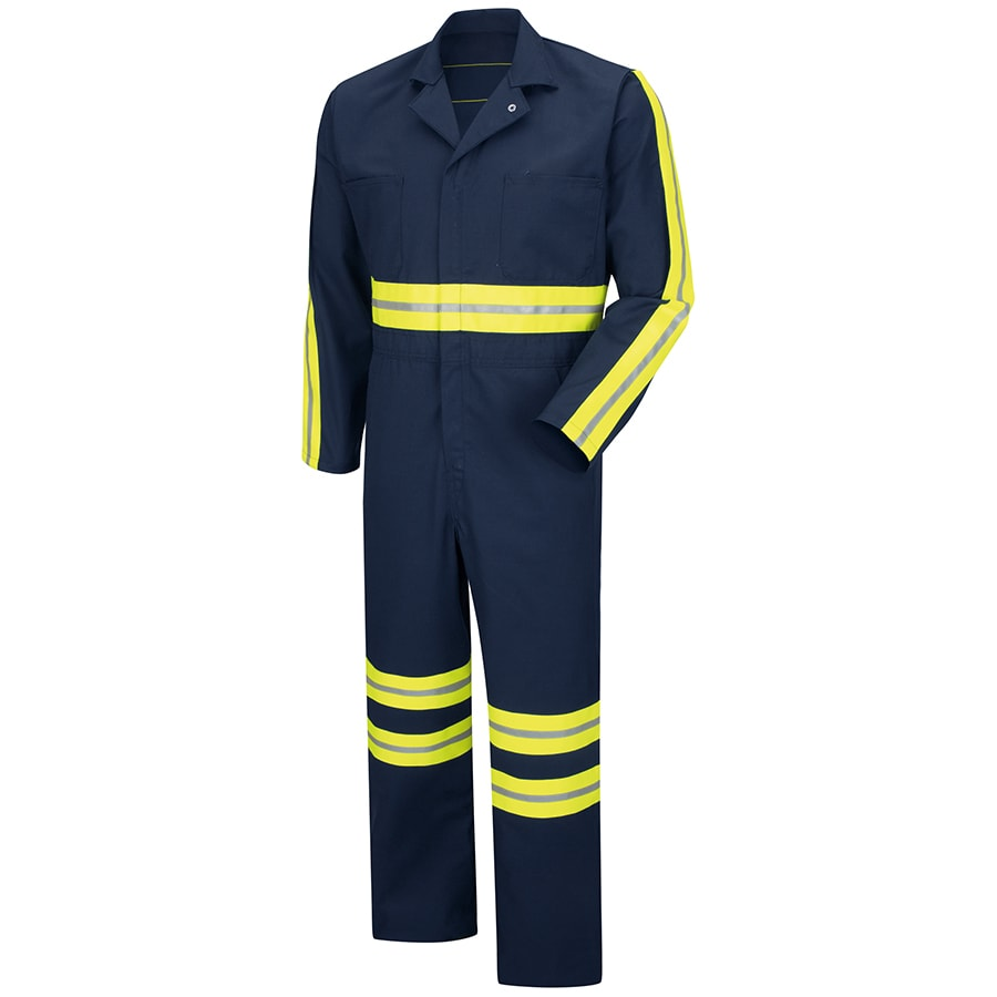 Red Kap 44 Men's Navy with Yellow/Green Reflective Trim Long Sleeve Coveralls