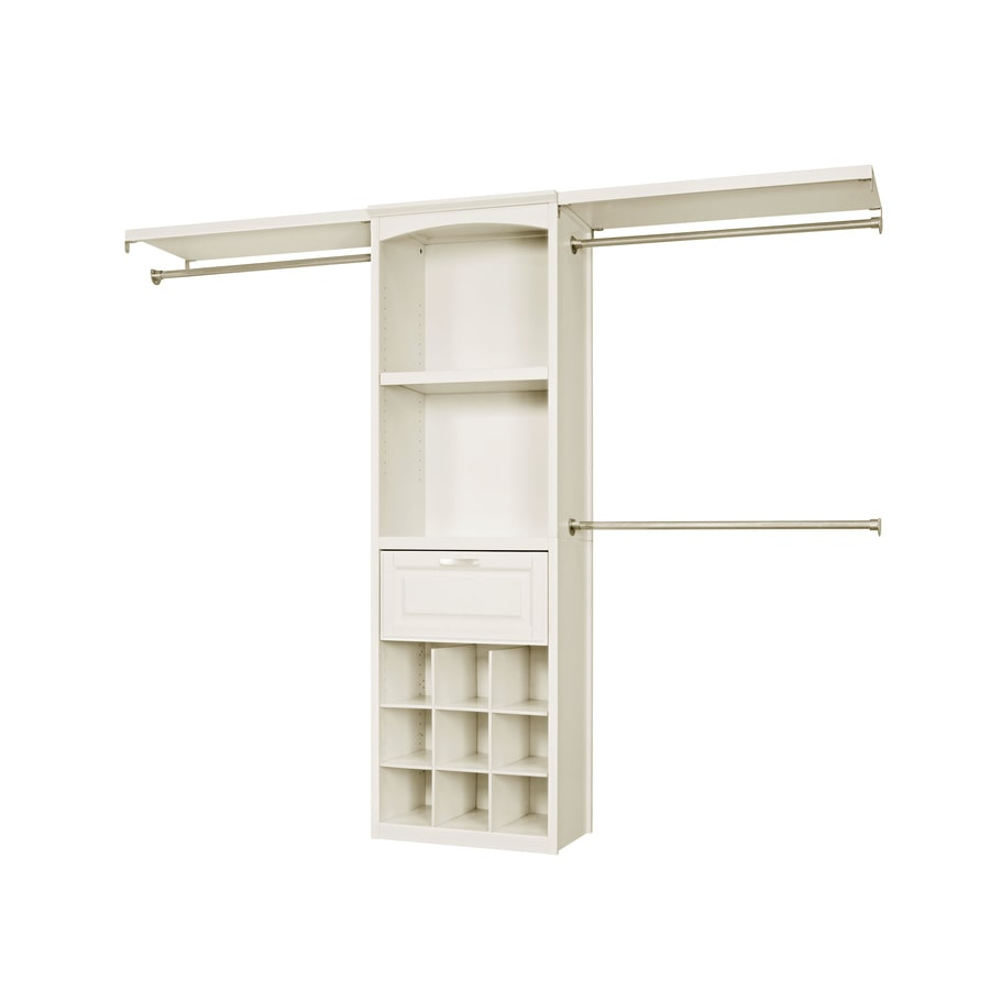 Lowes wire shelving systems for closets - Allen Roth 8 Ft X 6 83 Ft Antique White Wood Closet Kit